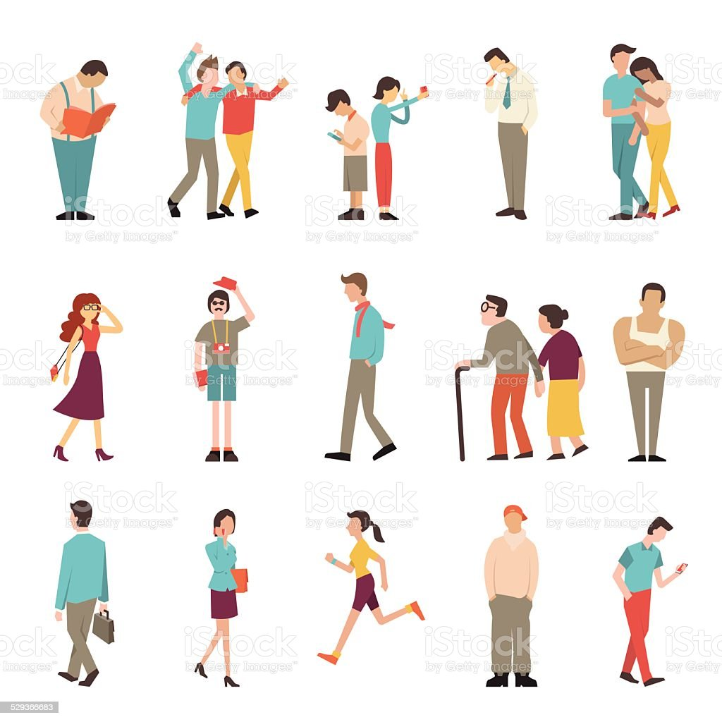 People in various lifestyles vector art illustration