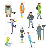 People in Winter. Winter Activities. Vector Illustration