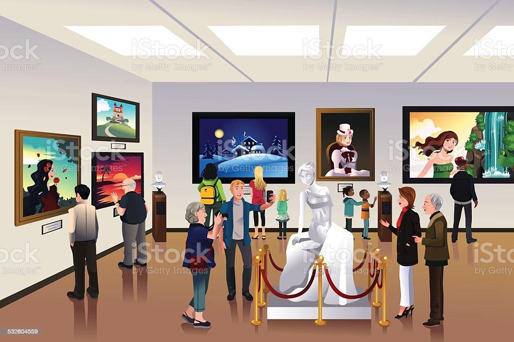 People inside a museum vector art illustration