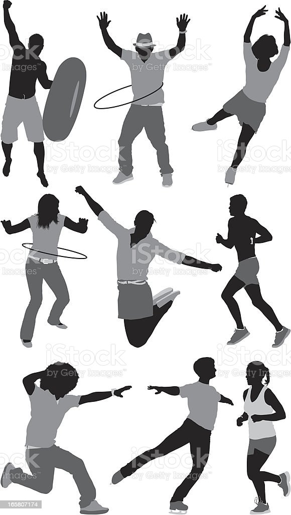 People involved in different sports activities royalty-free stock vector art
