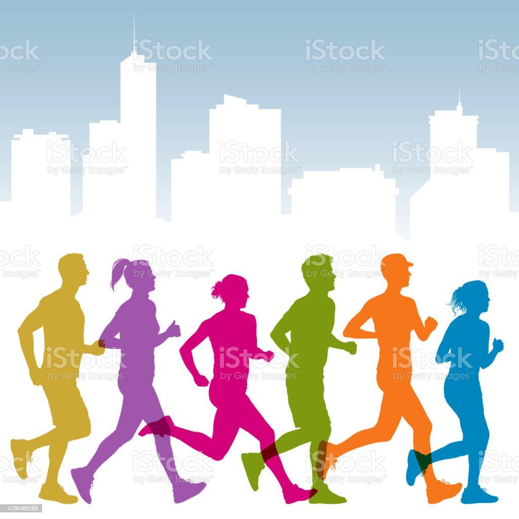 People Jogging royalty-free stock vector art
