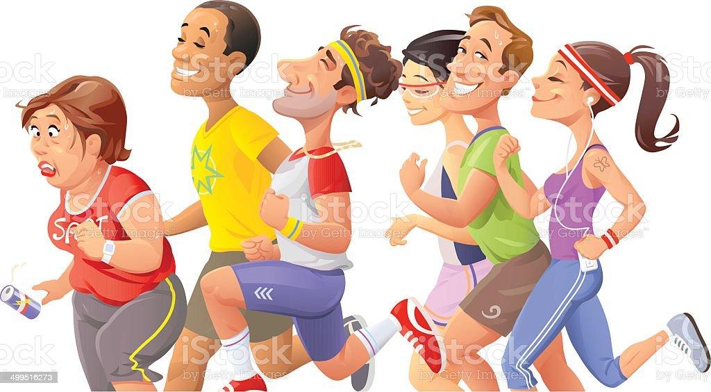 People Jogging vector art illustration