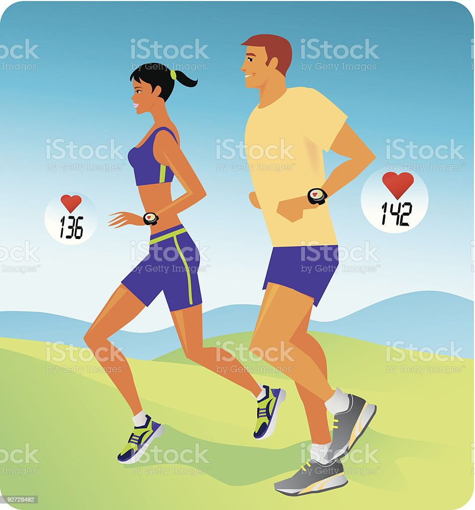 People jogging royalty-free stock vector art