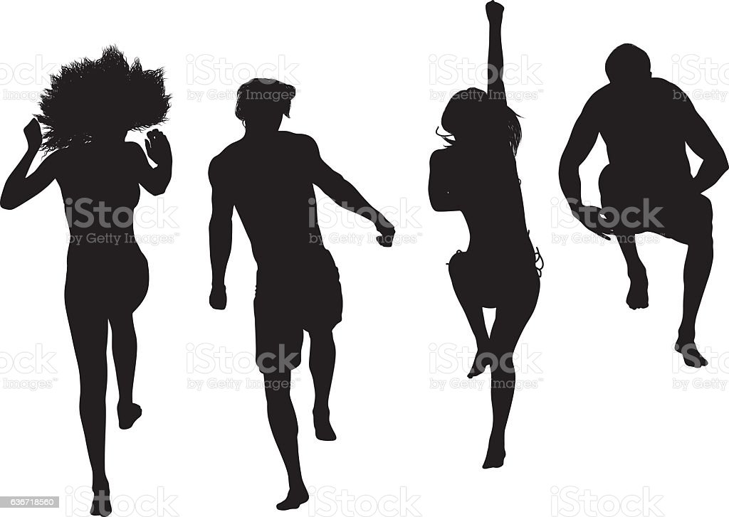 People jumping and cheering vector art illustration