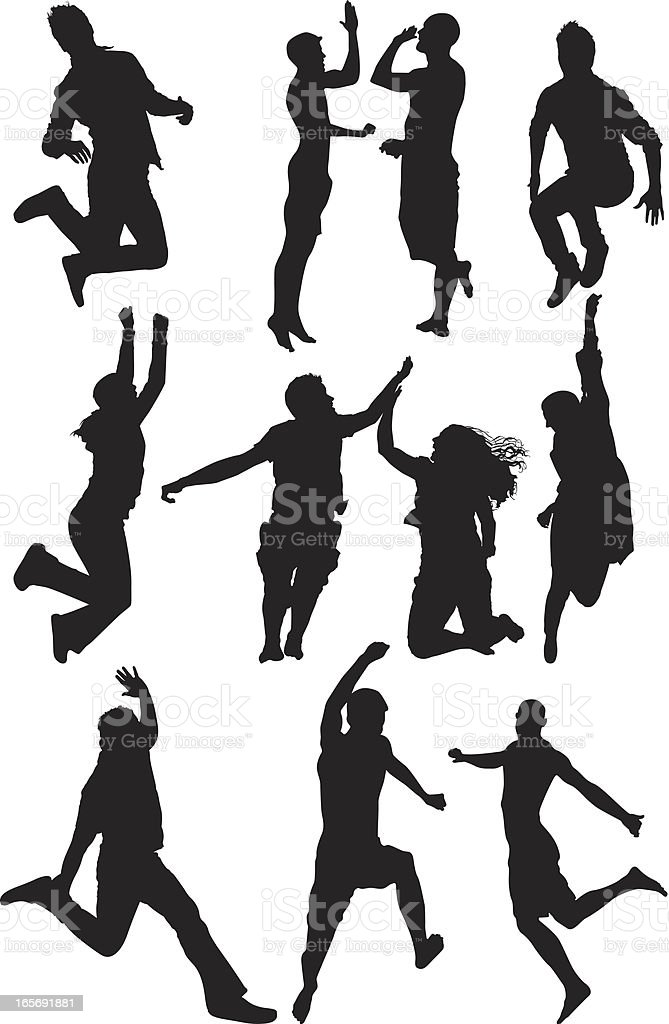 People jumping in excitement royalty-free stock vector art