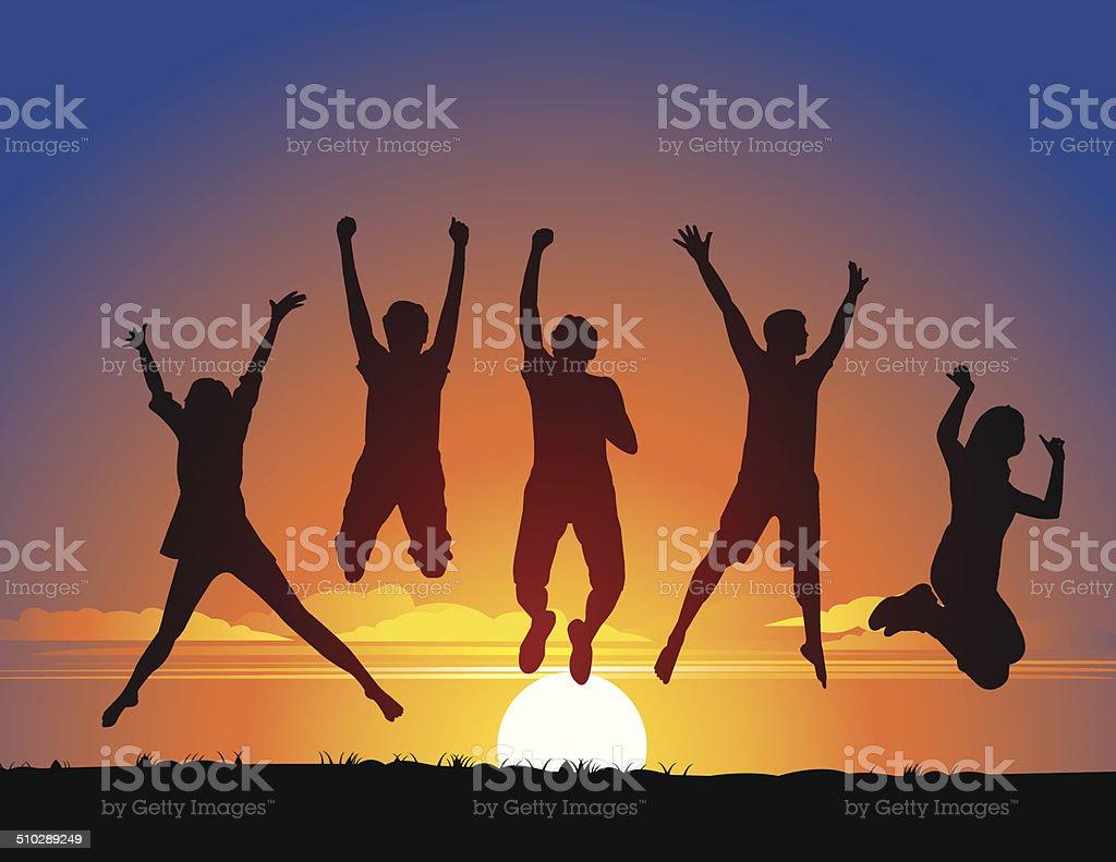 People Jumping vector art illustration