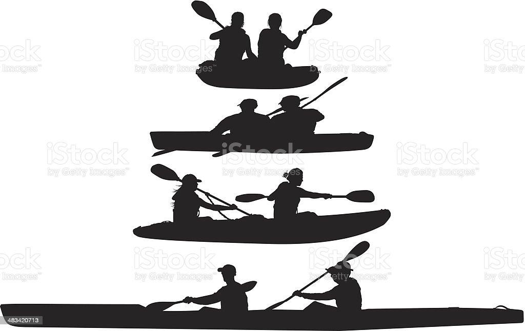 People kayaking royalty-free stock vector art