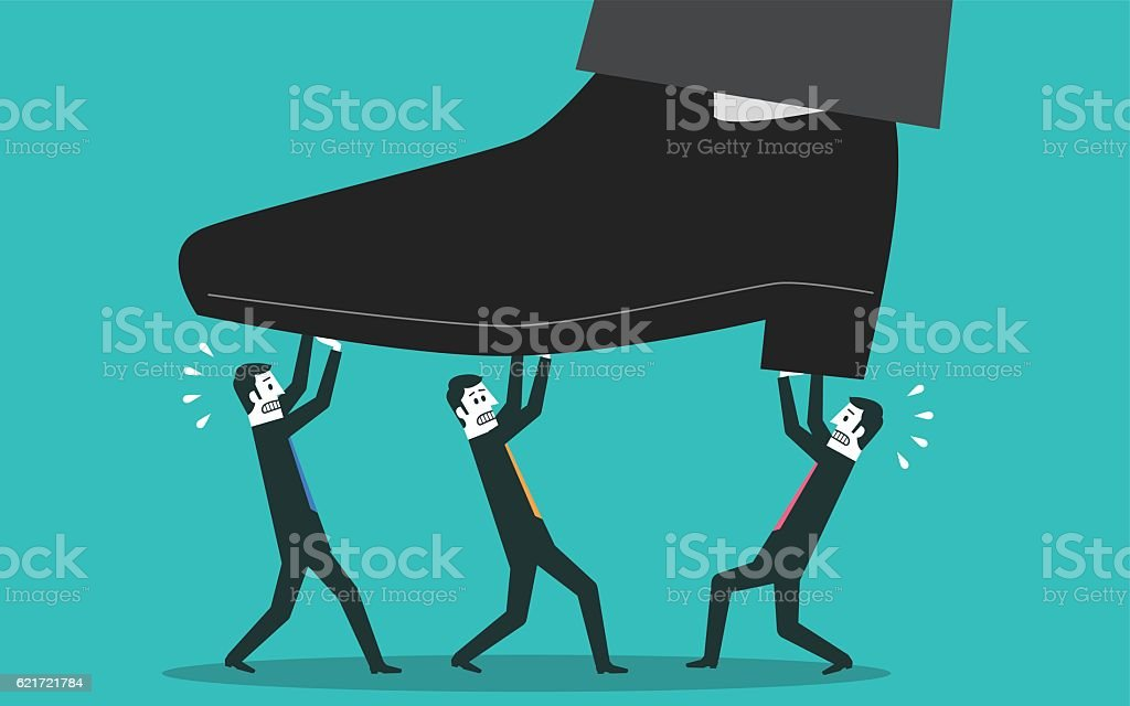 People lifting a huge foot vector art illustration