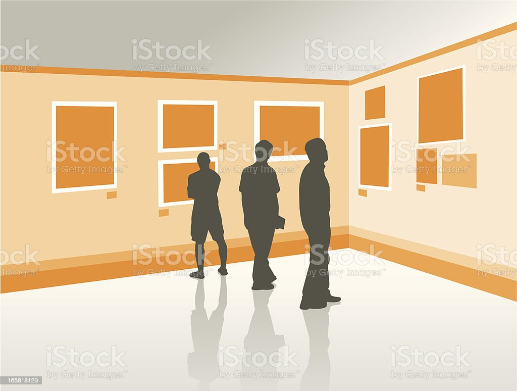 People looking the exposition at art gallery illustration vector art illustration