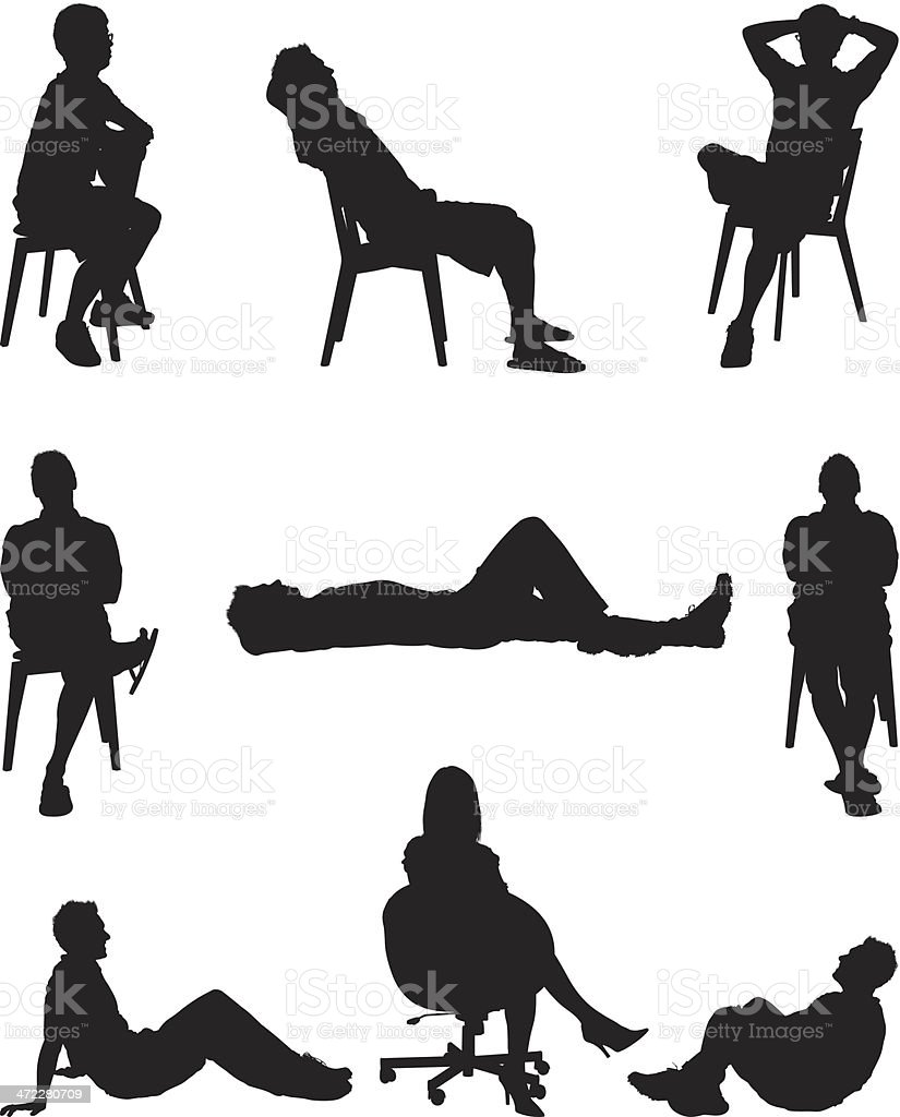 People lounging around vector art illustration