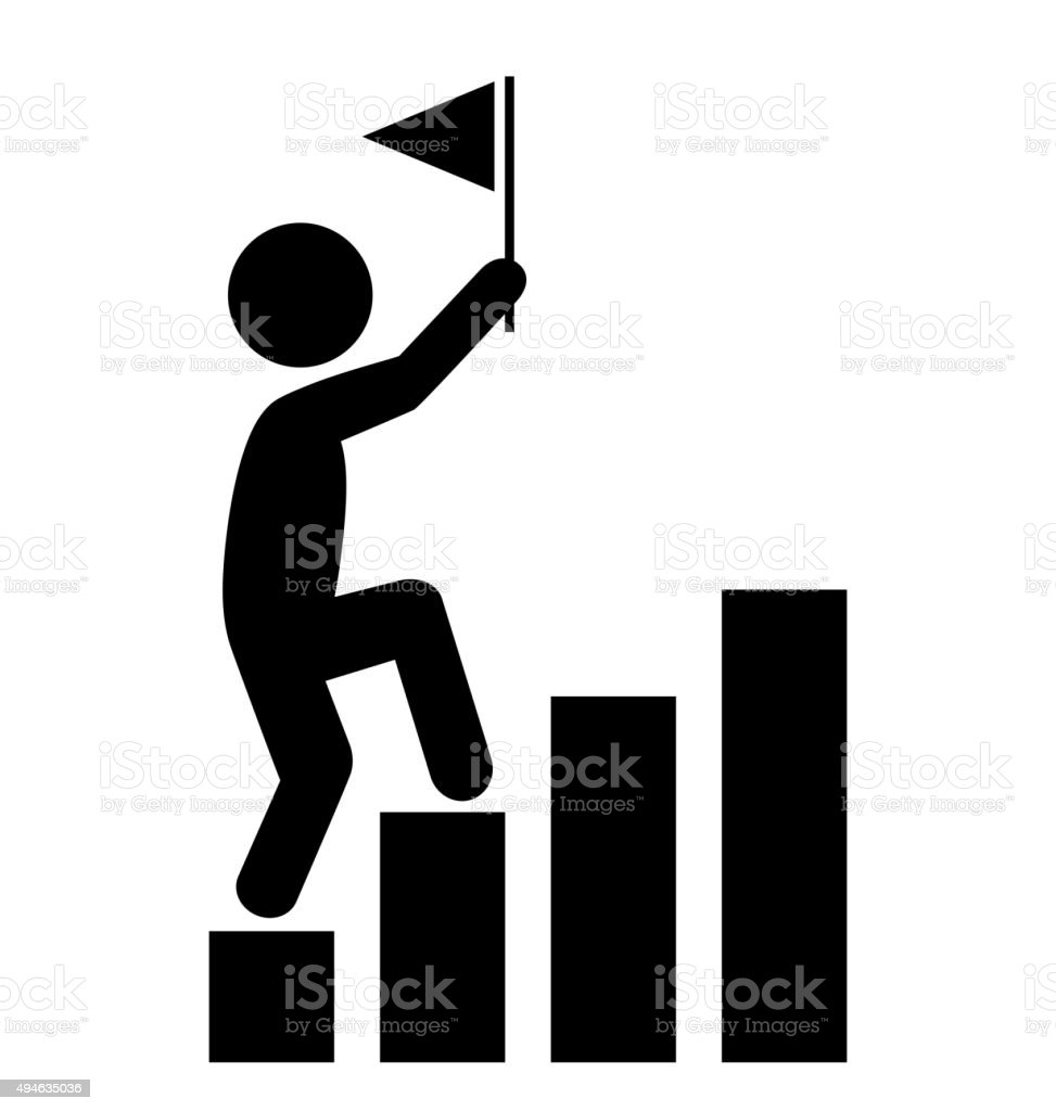 People Man with Flag on Diagram Icons Pictogram on White vector art illustration