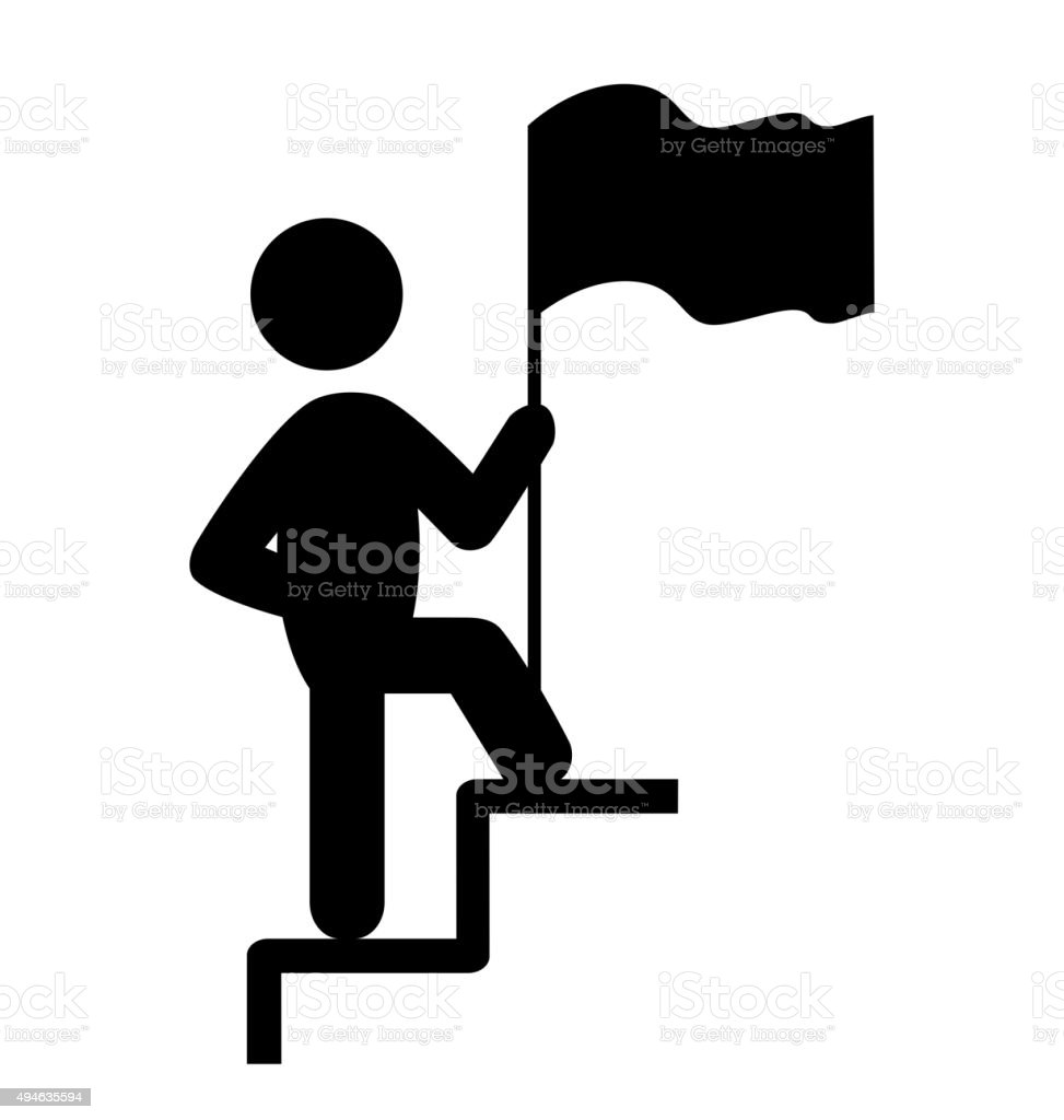 People Man with Flag on Stair Icons Pictogram on White vector art illustration