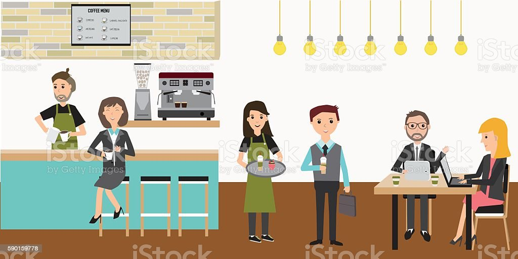 People meeting in the coffee shop infographics elements.illustra vector art illustration