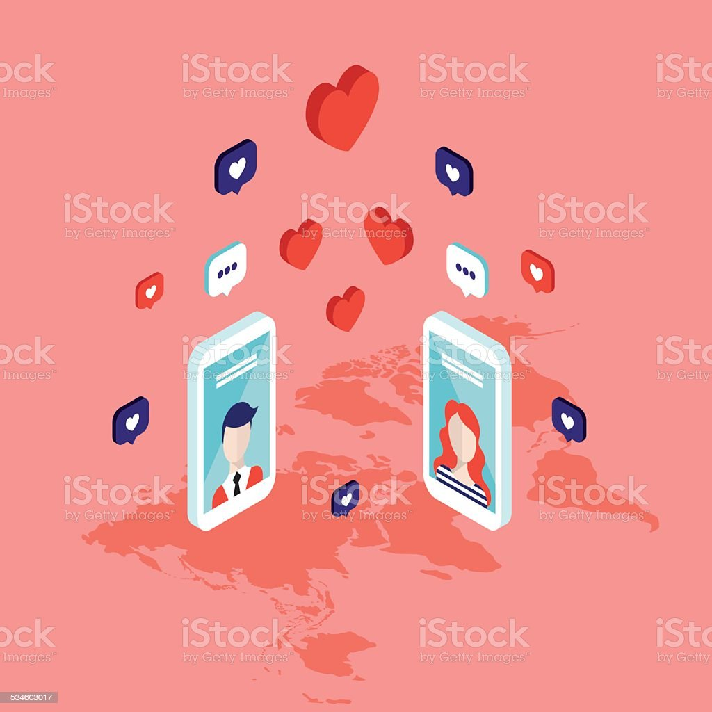 People messaging on St Valentines day Social network vector art illustration