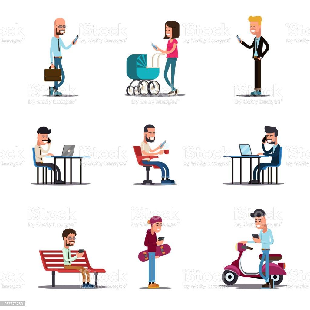 People mobile phones concept. Modern lifestyle vector illustration vector art illustration