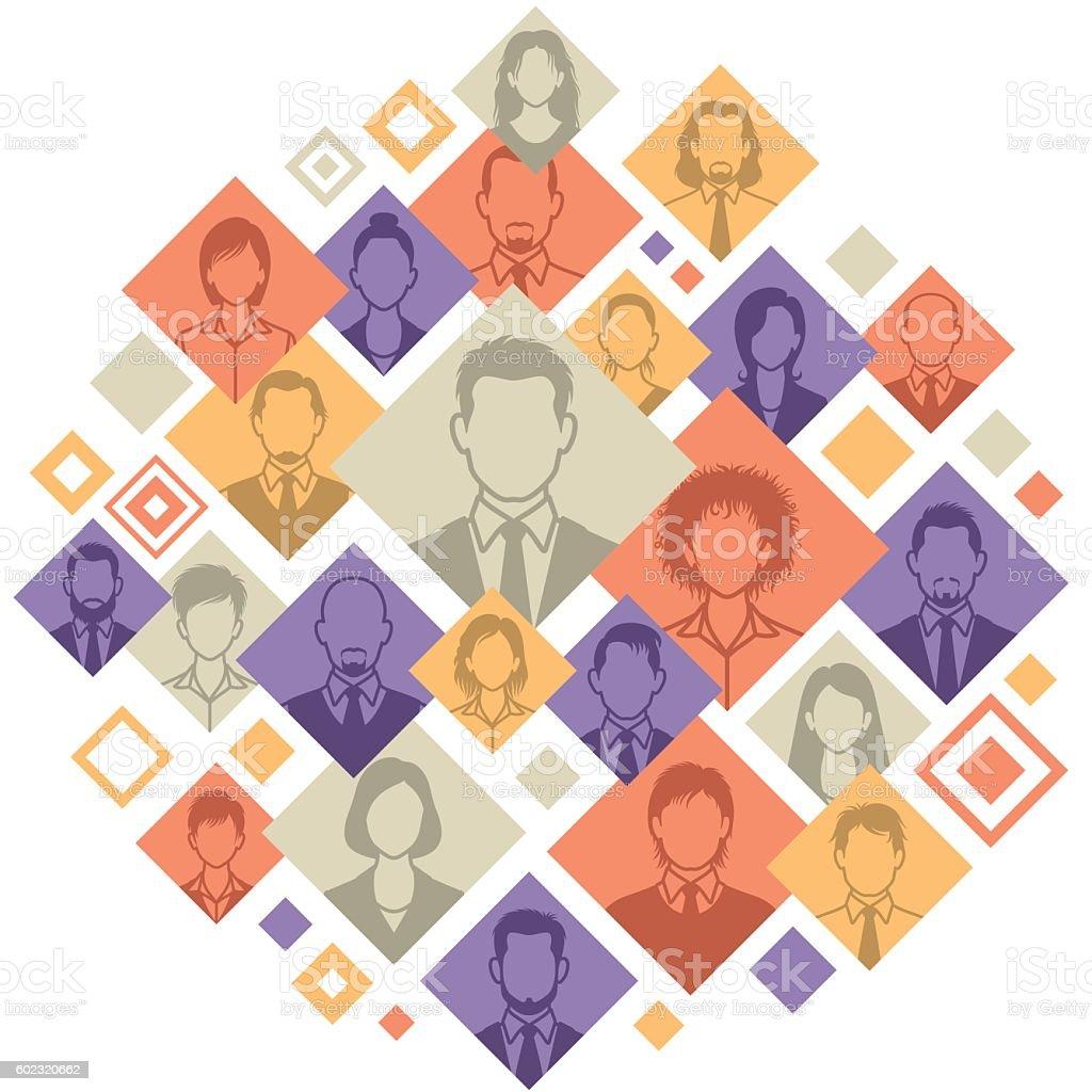 People Montage vector art illustration