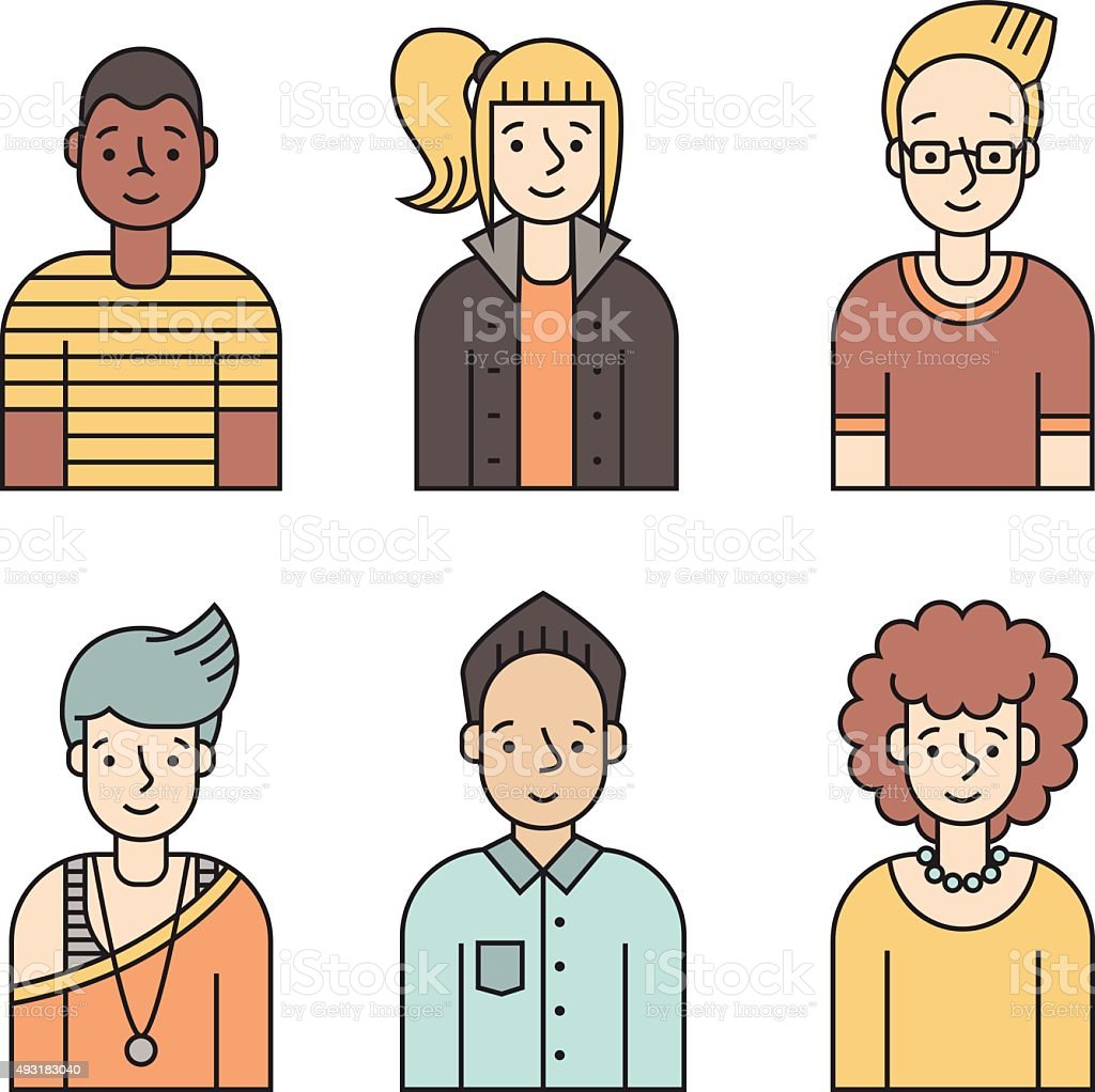 People multicolored icons vector set (men and women). Part two. vector art illustration