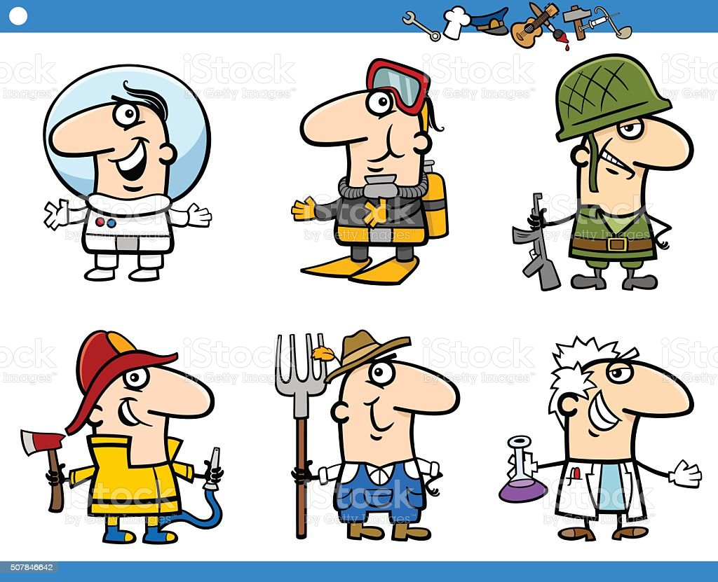 people occupations characters set vector art illustration