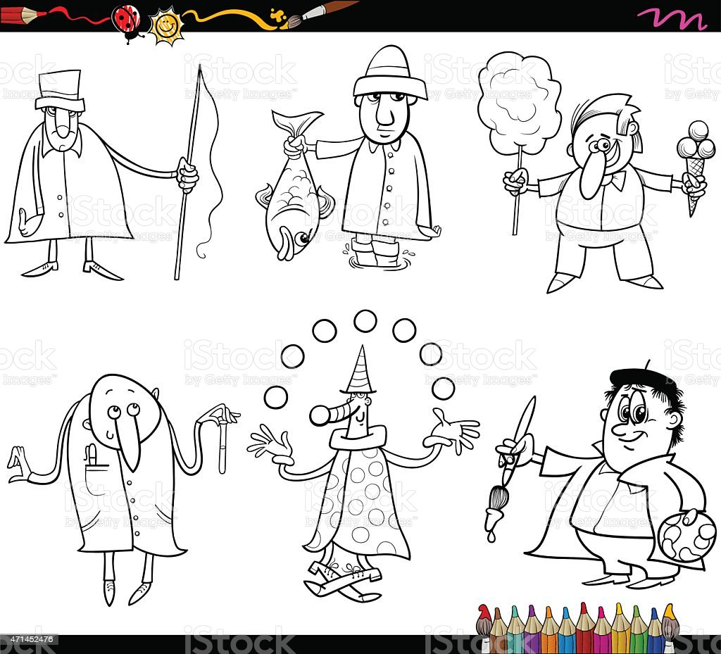people occupations coloring page vector art illustration
