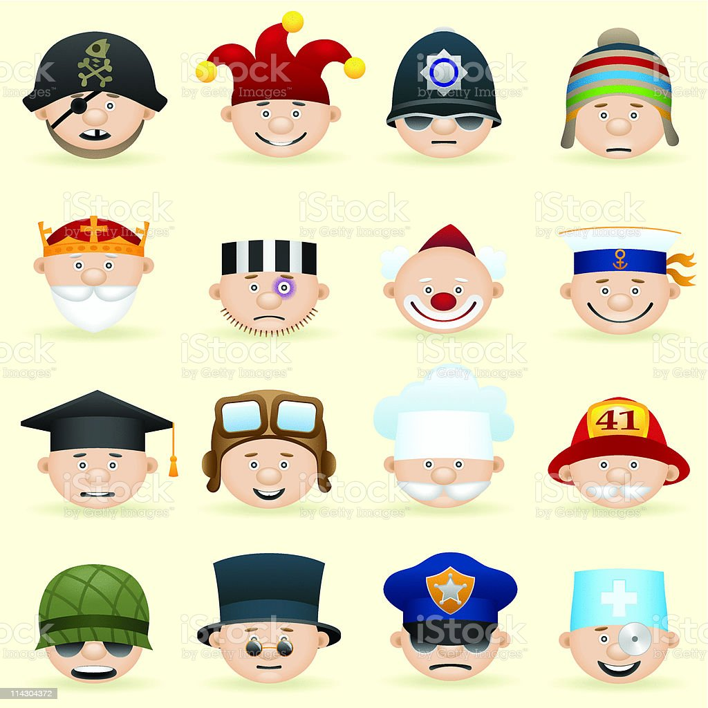 People occupations icons set royalty-free stock vector art