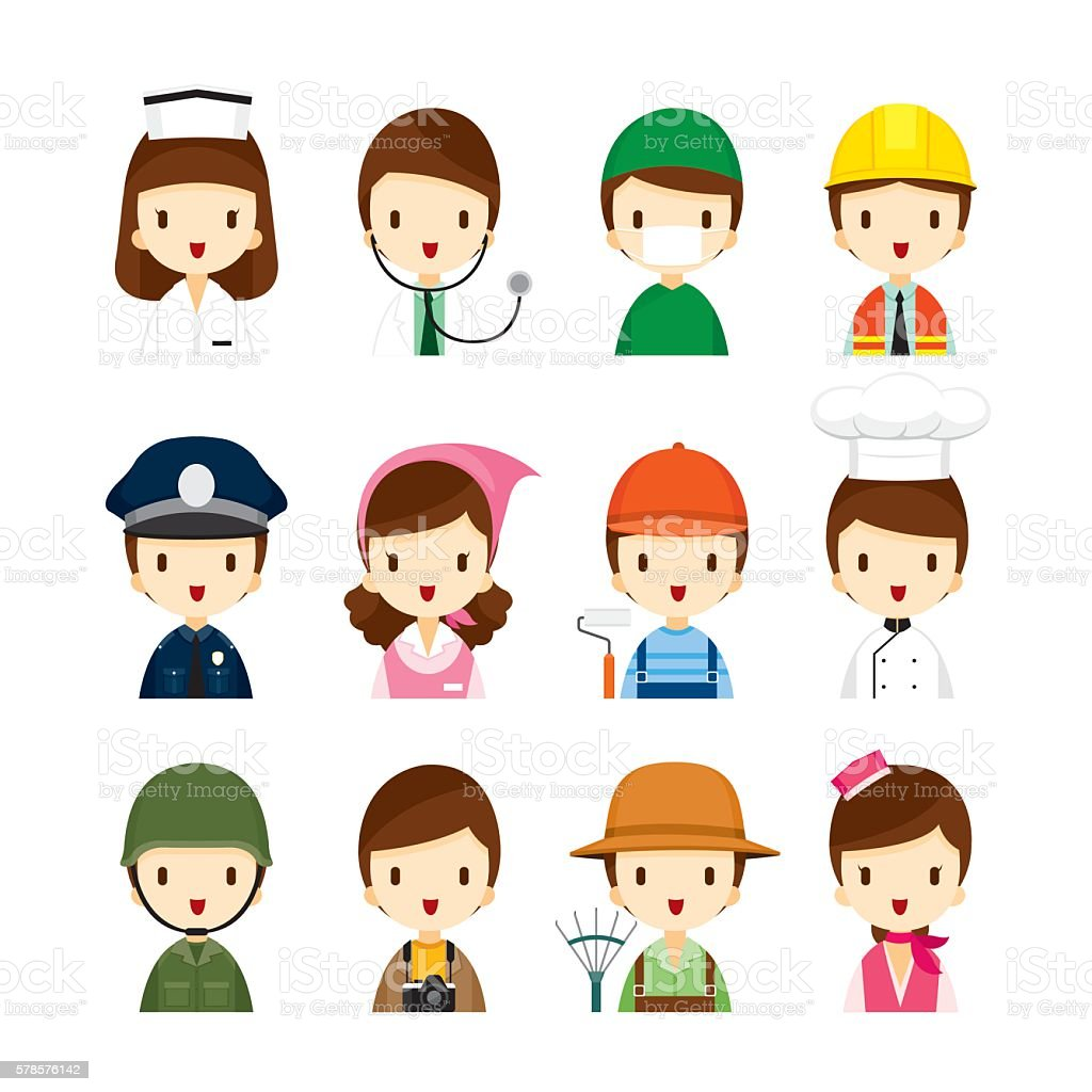 People Occupations Icons Set vector art illustration