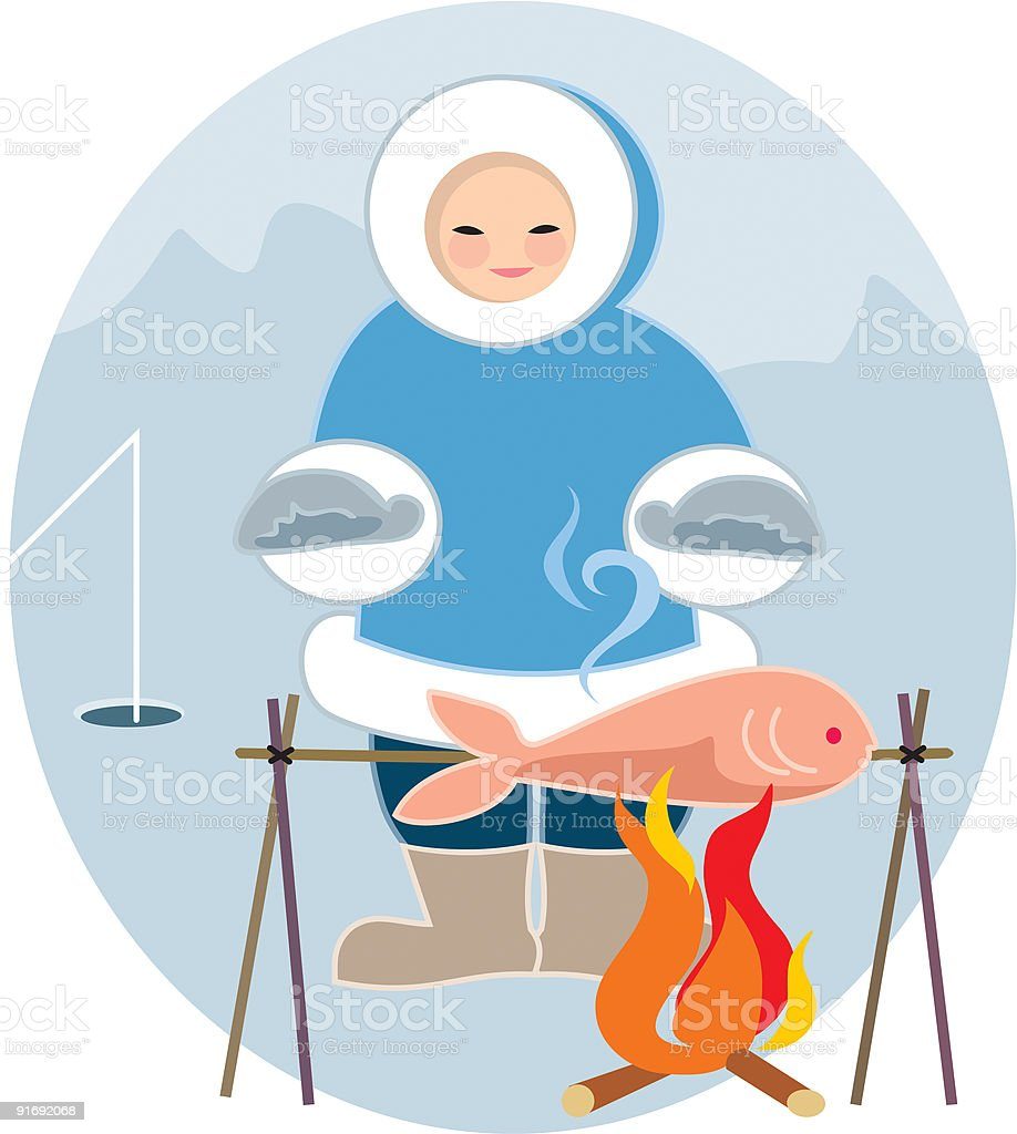 'People of the world', an Eskimo grills his dinner royalty-free stock vector art