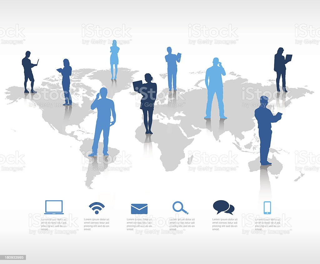 People on a world map showing global communication vector art illustration
