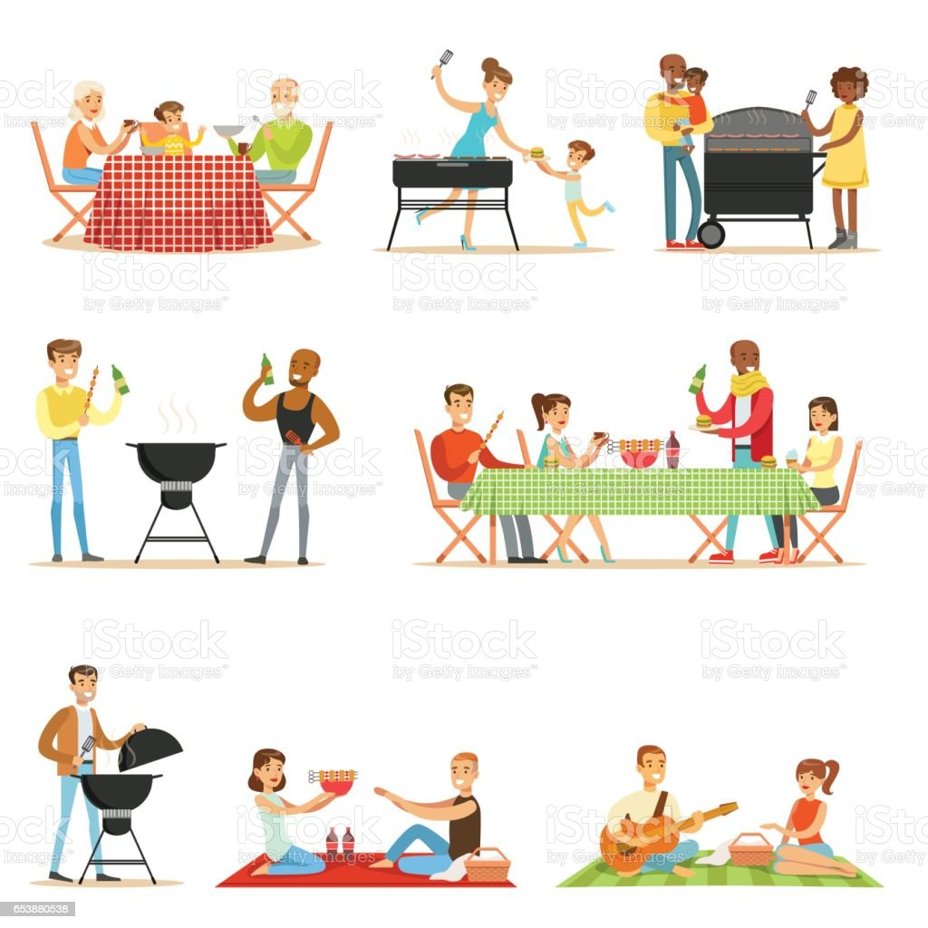 People On BBQ Picnic Outdoors Eating And Cooking Grilled Meat On Electric Barbecue Grill Set Of Scenes vector art illustration