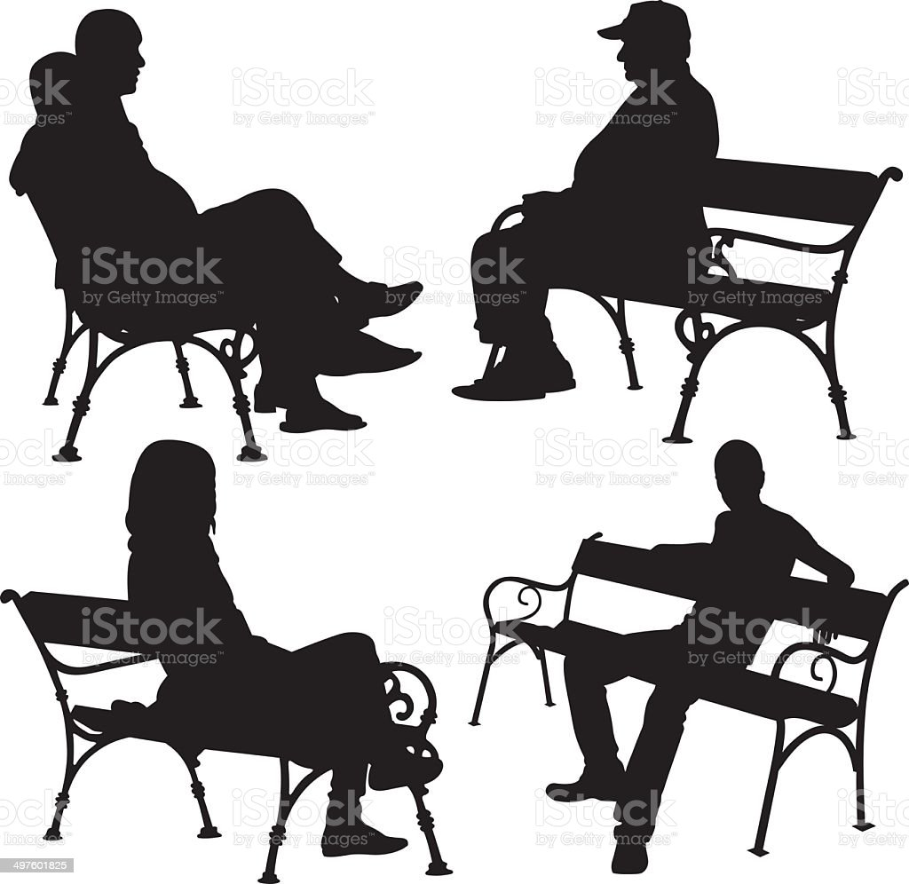 people on benches vector art illustration