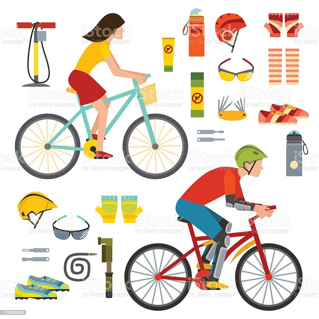 People on bicycles riders man and woman lifestyle cycling sport vector art illustration