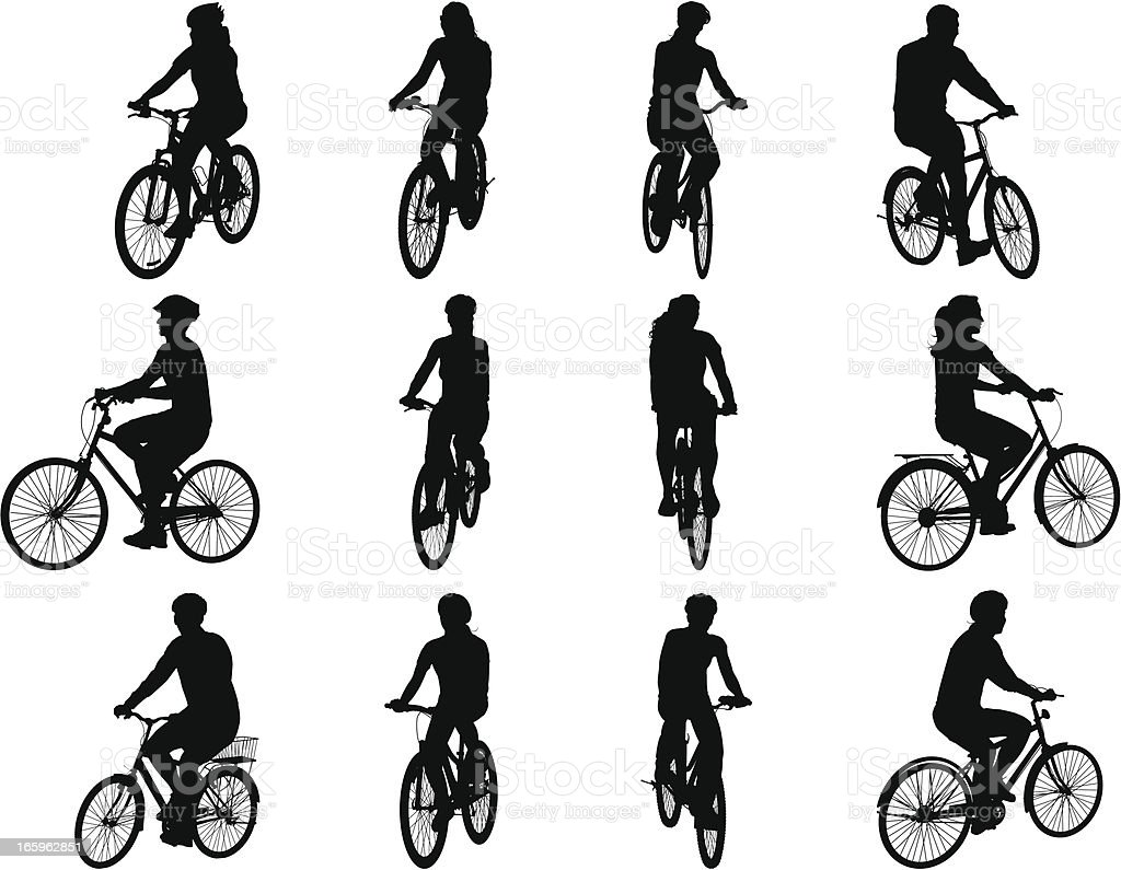 People on Bicycles royalty-free stock vector art