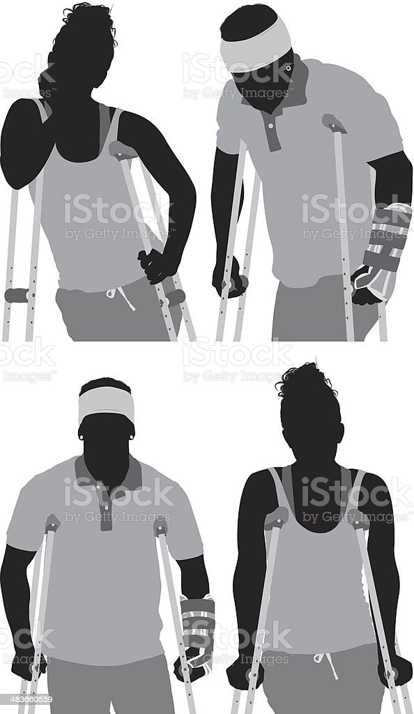 People on crutches royalty-free stock vector art
