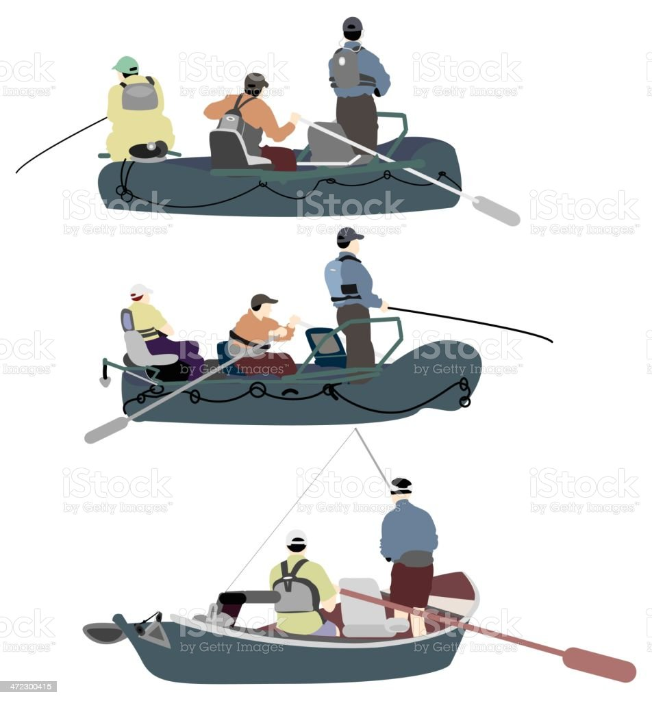People on fishing boat vector art illustration