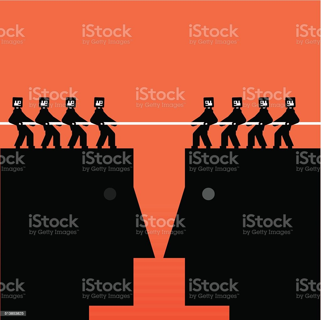 People on head pulling a rope vector art illustration