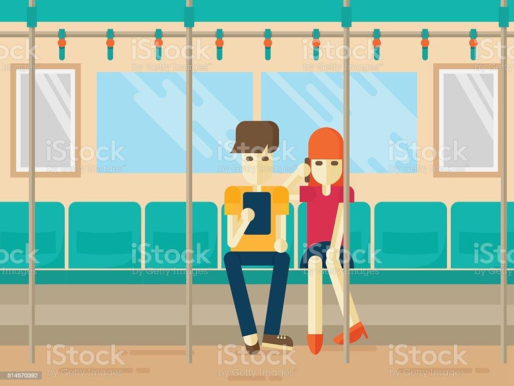 People on subway flat style. vector art illustration