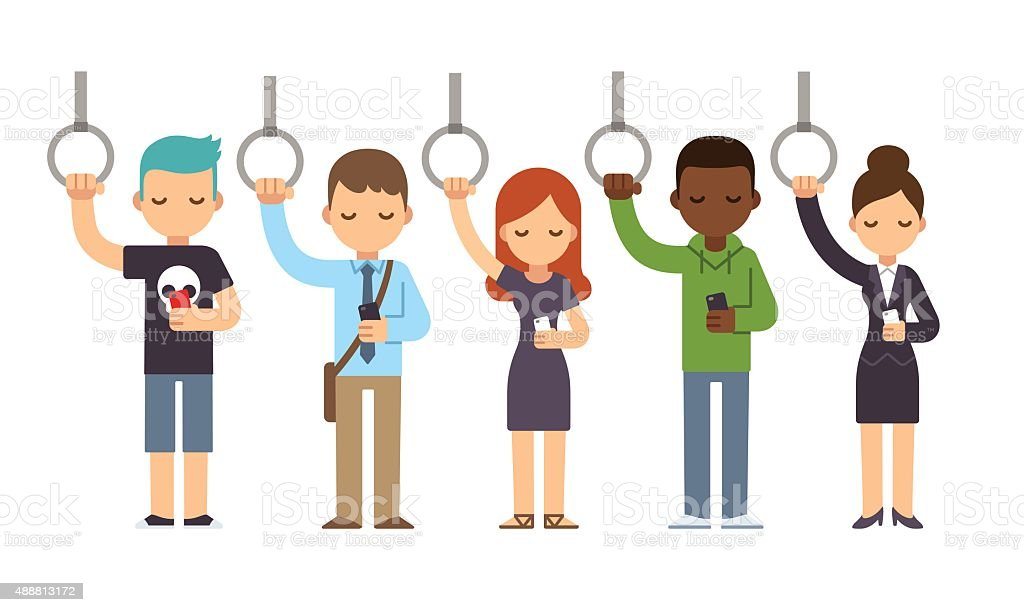 People on subway vector art illustration