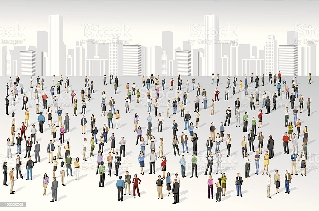 people on the cit vector art illustration