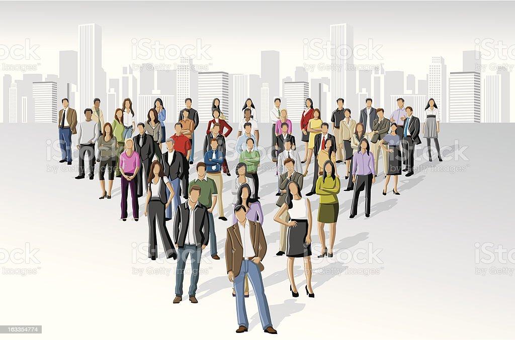 people on the city vector art illustration