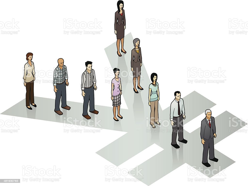 People on Yen Sign vector art illustration