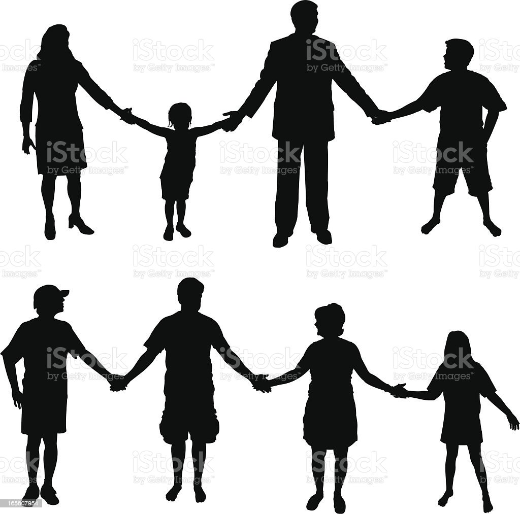 People or Families Holding Hands royalty-free stock vector art