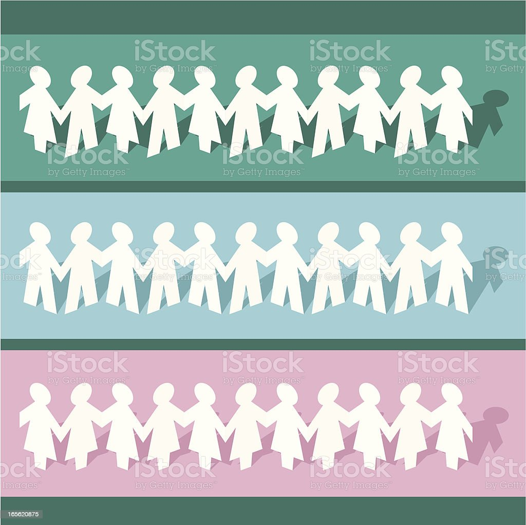 People paper chain vector art illustration
