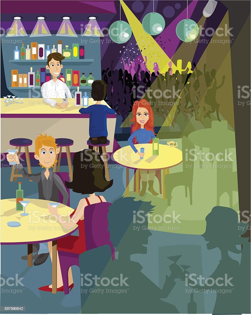 People partying at a disco vector art illustration