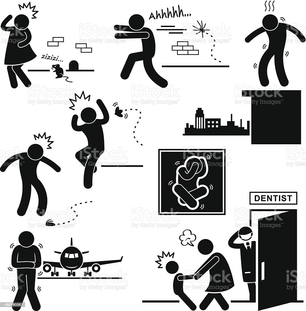 People Phobia Fear Scared Afraid vector art illustration