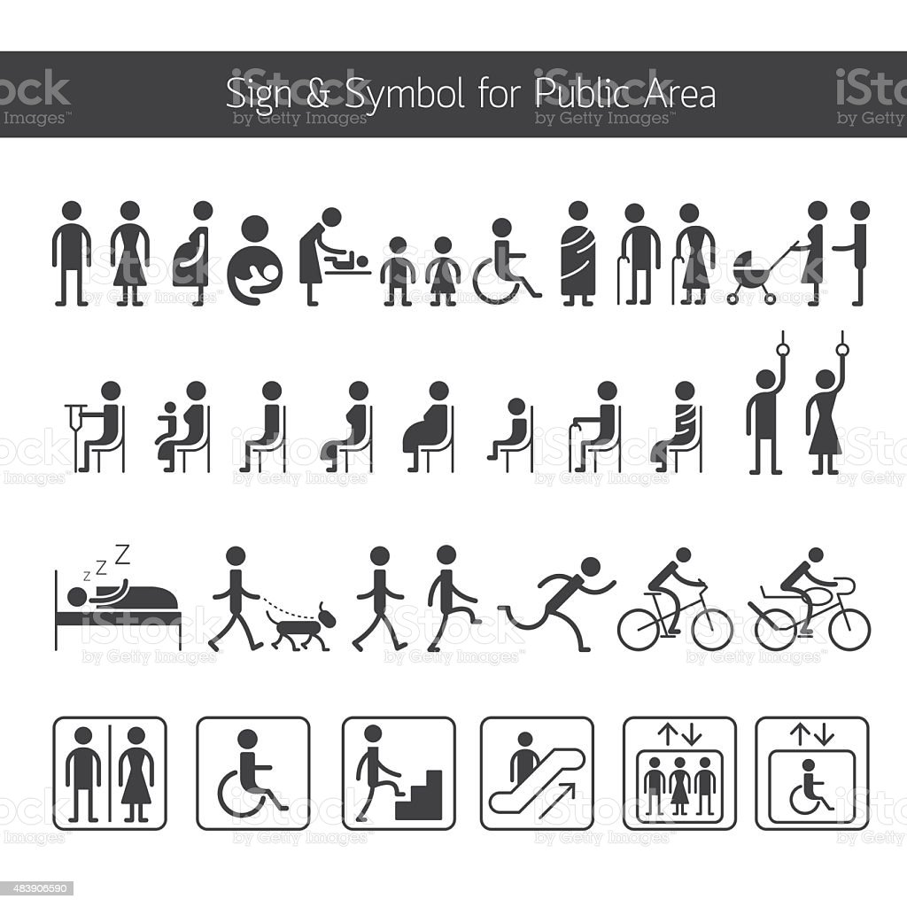People Pictogram Signs and Symbols for Public Area vector art illustration