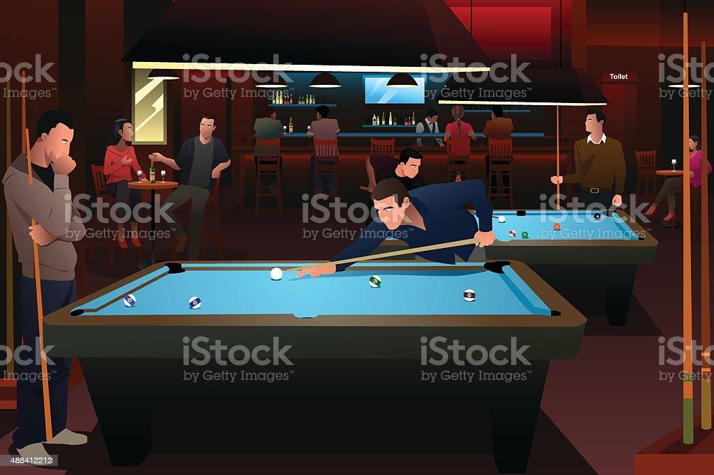 People Playing Billiard vector art illustration