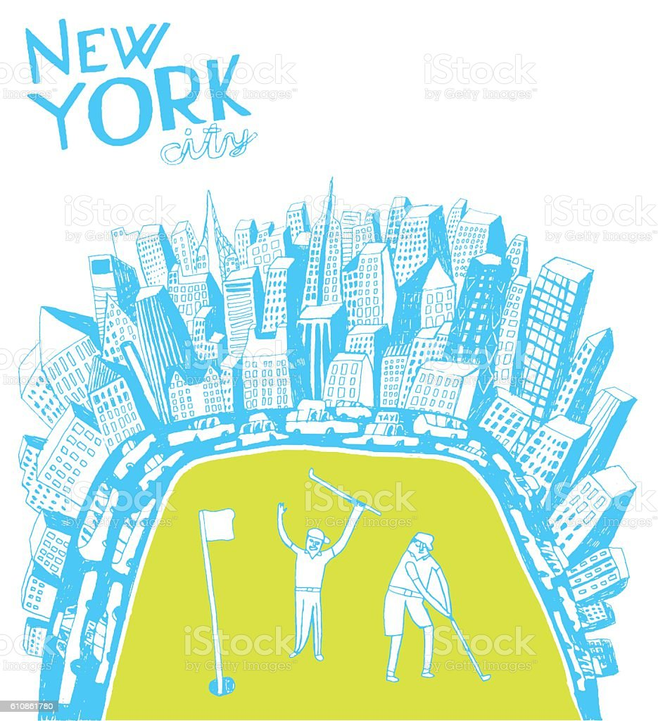 People playing golf in Central Park in New York vector art illustration