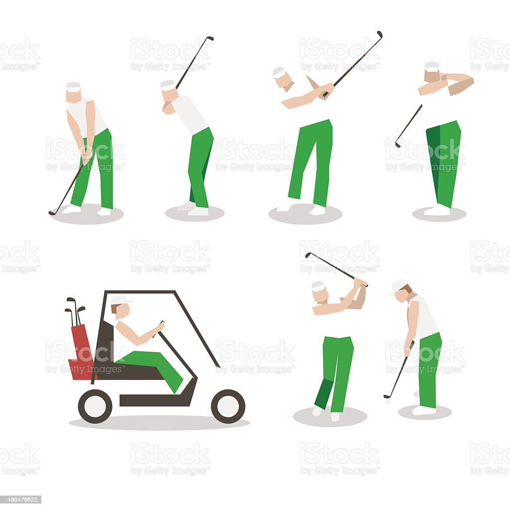 People playing Golf vector set. swing with a Golf club. vector art illustration