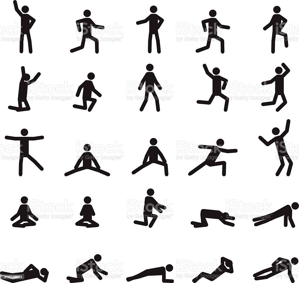 People poses icons set vector art illustration