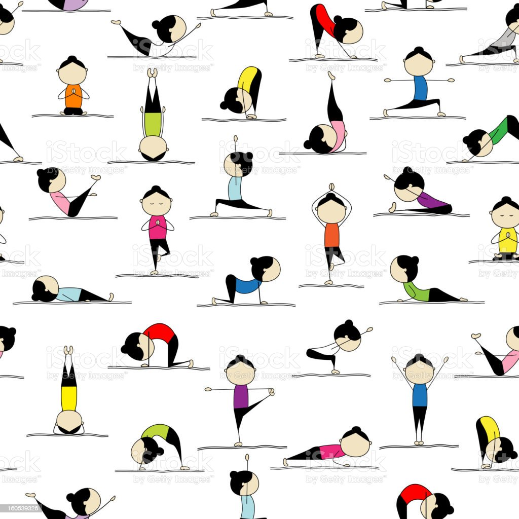 People practicing yoga, seamless background for your design royalty-free stock vector art
