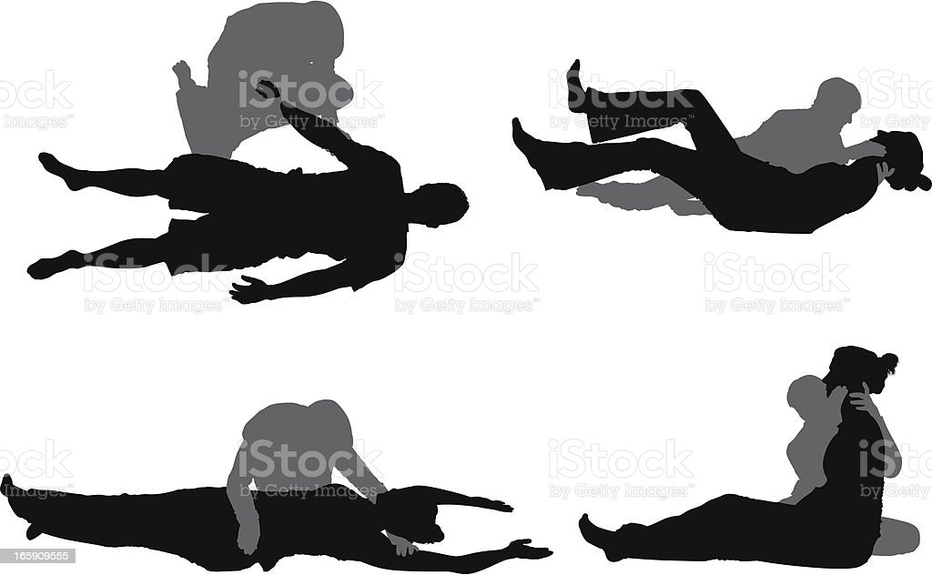 People practicing yoga with the help of instructor vector art illustration